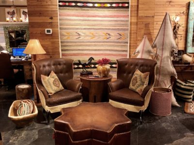 wing chairs and navajo rug