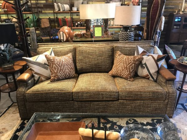 tweed and leather sofa