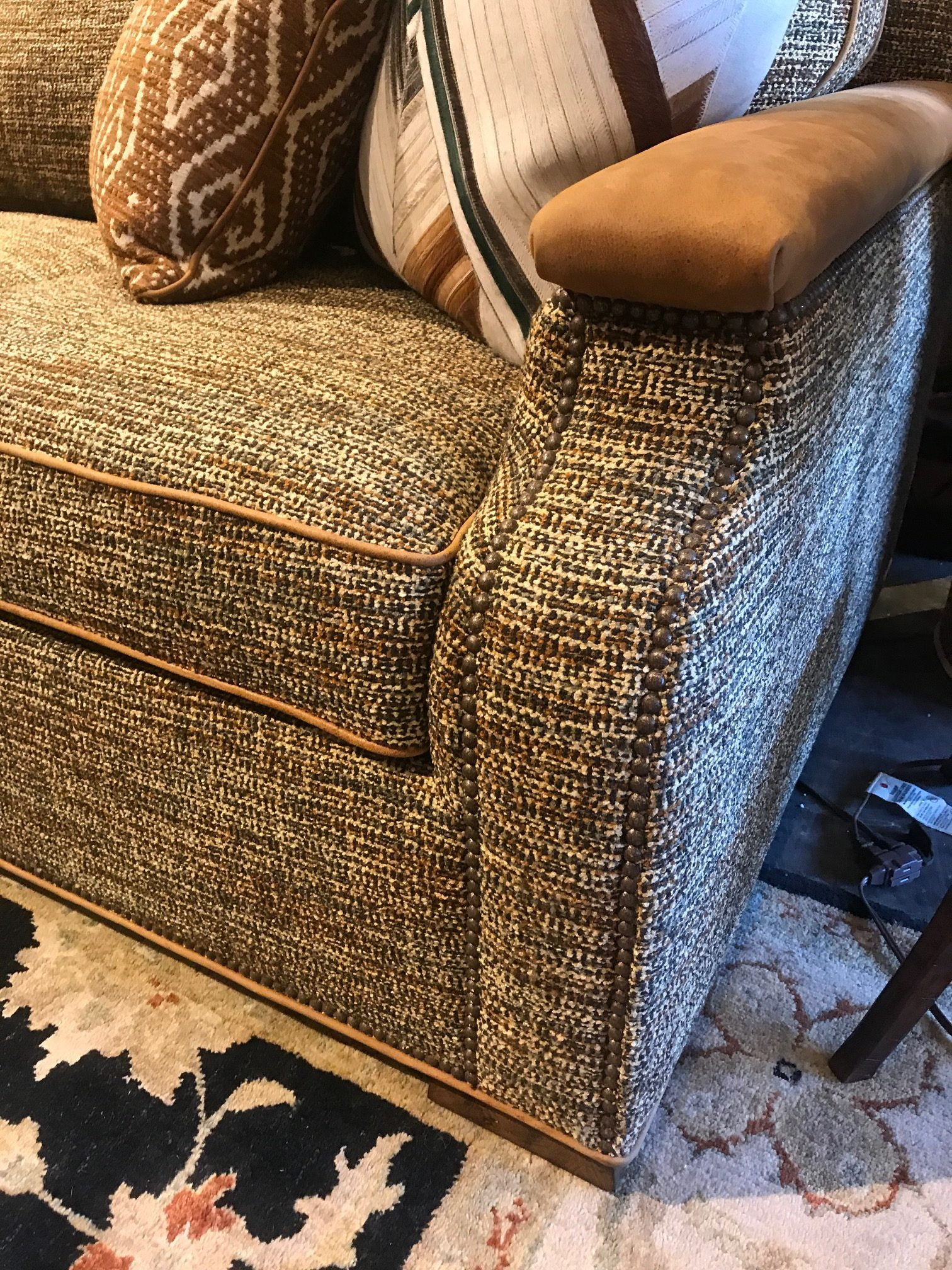 Tweed Sofa With Leather Accents At Anteks Furniture Store