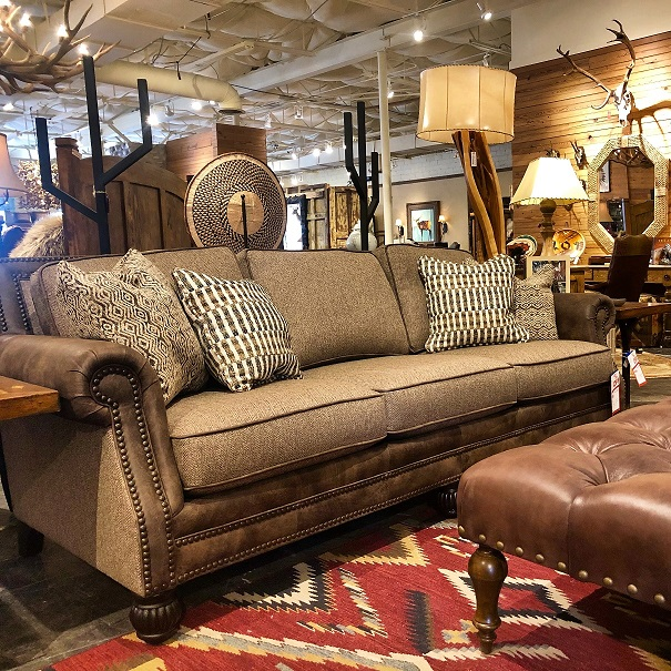 1 2 Price Fabric And Leather Sofa At Anteks Furniture