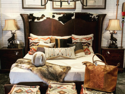 leather and cowhide bed